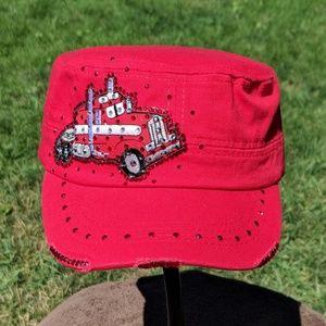 New custom red semi tractor bling hat